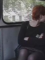 Upskirt hidden voyeur shots taken in the bus