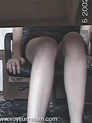 Hot housewife touching pussy under the table
